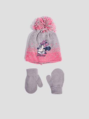 Lot bonnet et mouffles Minnie multicolore bebef
