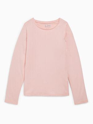 T shirt uni en coton rose clair fille