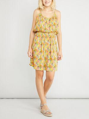 Robe fleurie evasee fines bretelles jaune moutarde femme