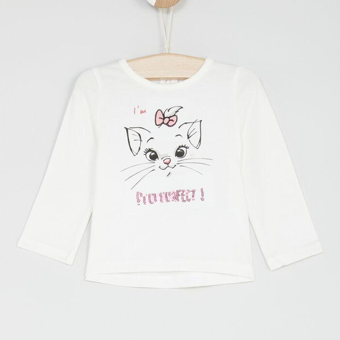 T-shirt manches longues Aristochats bébé fille blanc