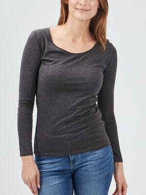 T shirt a manches longues gris fonce femme