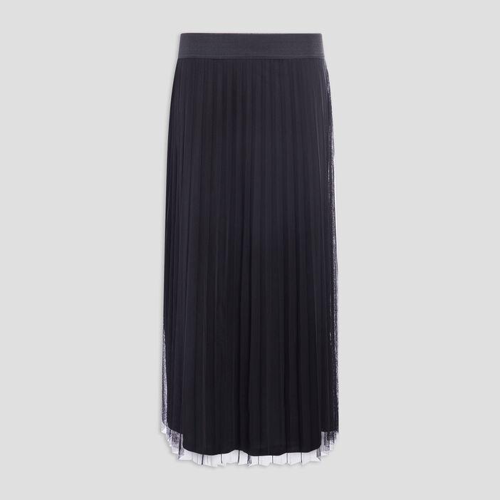 Jupe longue évasée plissée femme noir