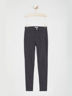 Pantalon droit uni gris fonce fille