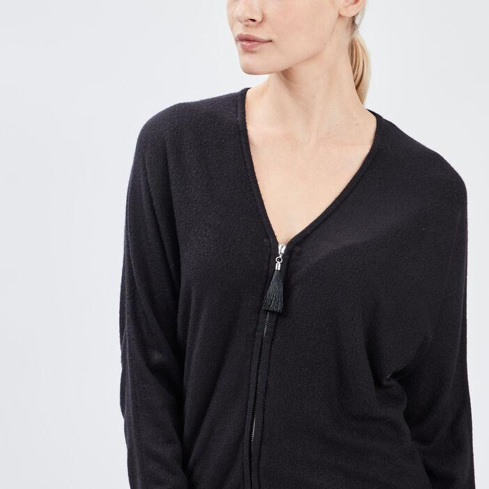 Gilet manches longues zippé femme noir