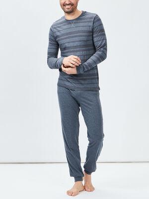 Ensemble pyjama 2 pieces gris fonce homme