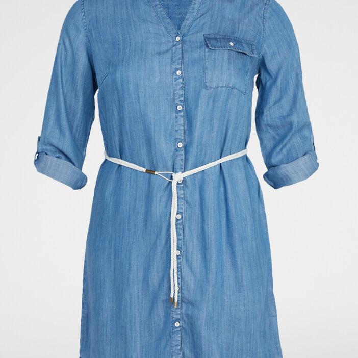 Robe chemise avec ceinture fantaisie femme denim double stone