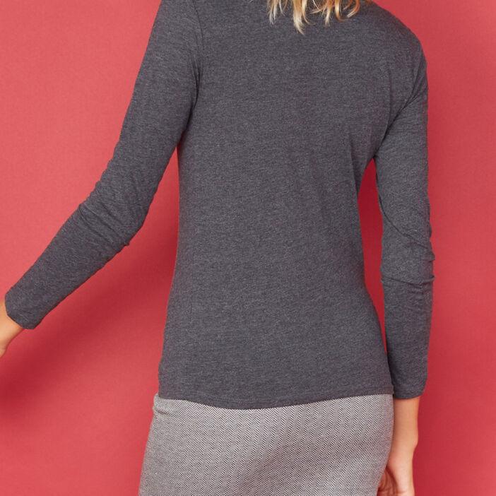 T-shirt uni à manches longues femme gris foncé