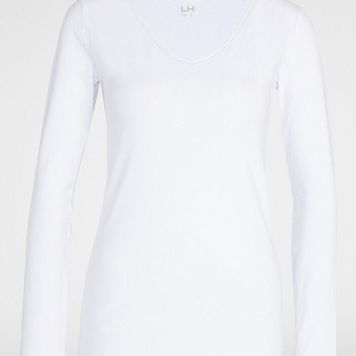 T-shirt uni liseré contrastant femme blanc