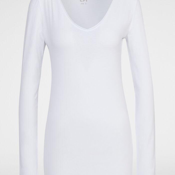 T-shirt col V ajusté femme blanc