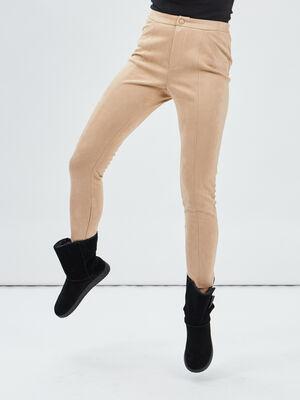 Pantalon skinny en suedine beige femme