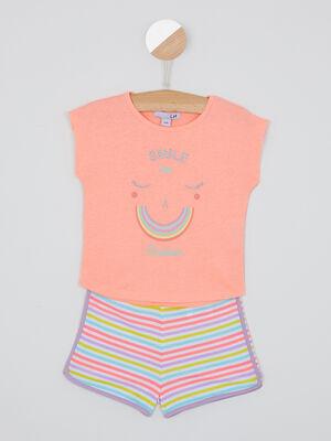 Pyjama short coton avec rayures rose fille