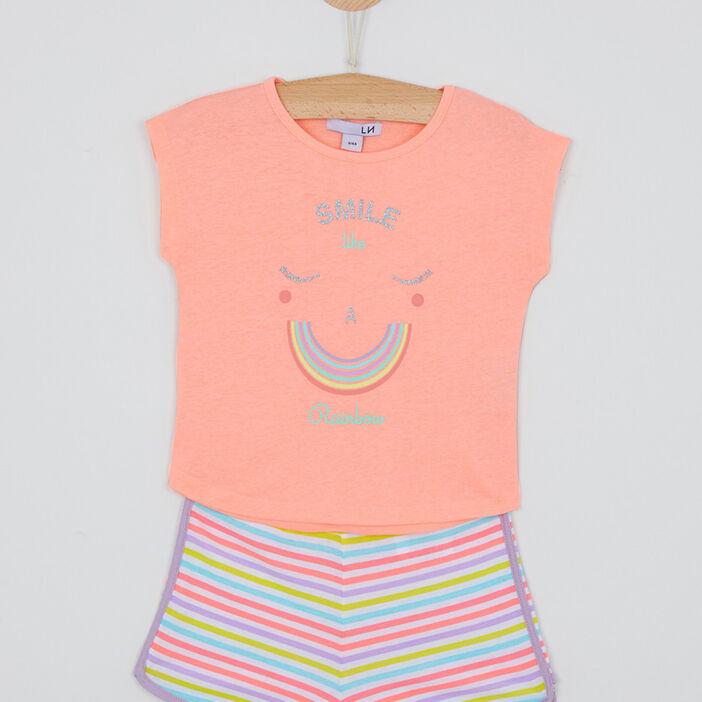 Pyjama short coton avec rayures fille rose