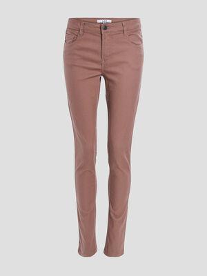 Pantalon slim marron femme