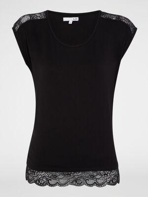 T shirt nuit imprime avec dentelle noir femme