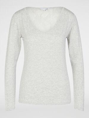 T shirt de nuit dentelle dos gris femme