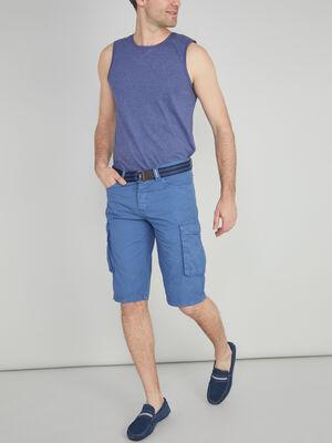 Bermuda battle coton avec ceinture bleu homme