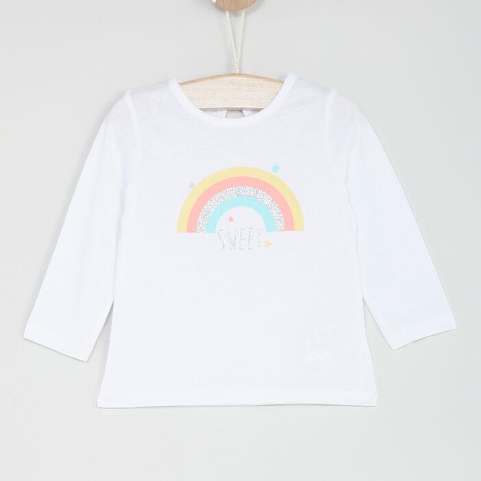 T-shirt manches longues bébé fille blanc