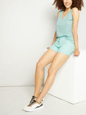 Short uni taille basse bleu turquoise femme