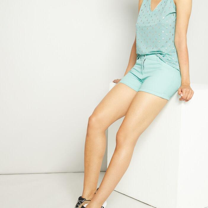 Short uni taille basse femme bleu turquoise