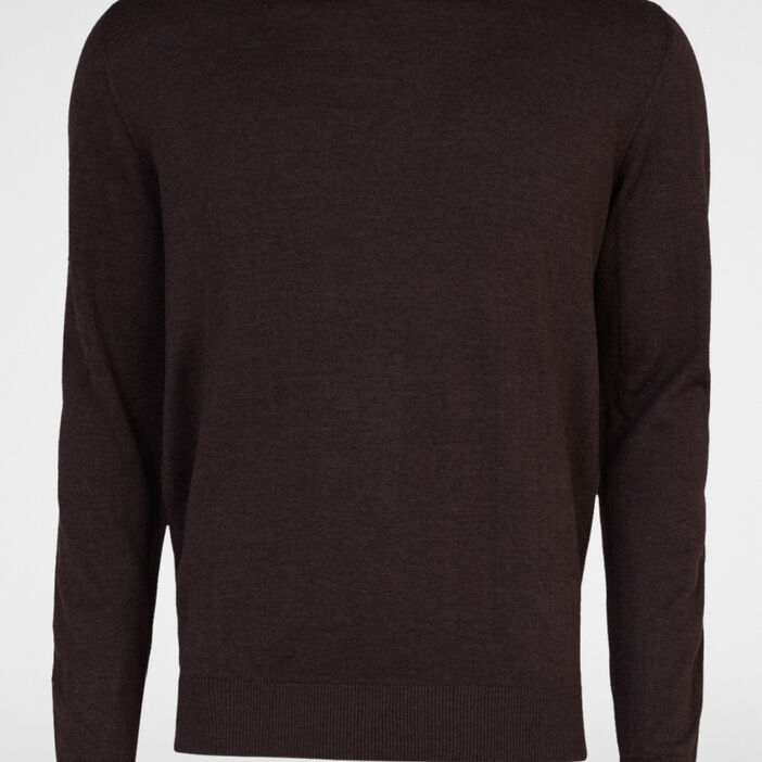 Pull avec col rond homme marron clair