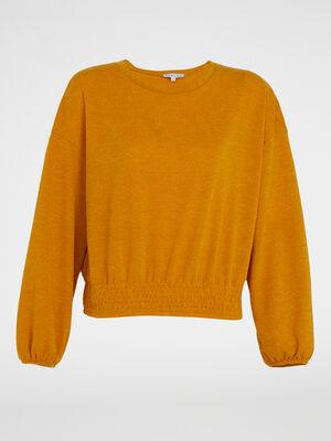 Sweatshirt jaune moutarde femme