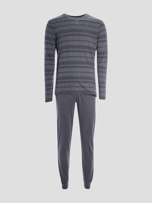 Pyjama 2 pieces rayures chevrons gris fonce homme