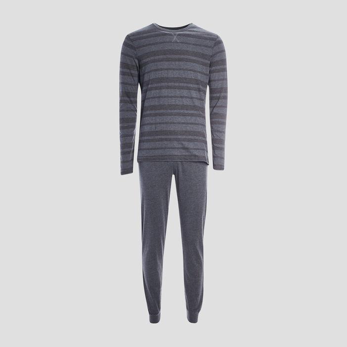 Pyjama 2 pièces rayures chevrons homme gris foncé