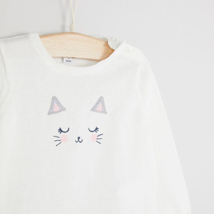 Pull col rond lapin brodé fille ecru