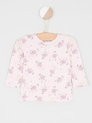 T shirt manches longues a fleurs rose clair fille