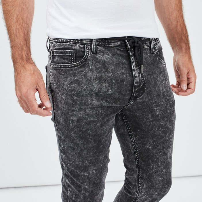 Jeans skinny taille à coulisse homme noir