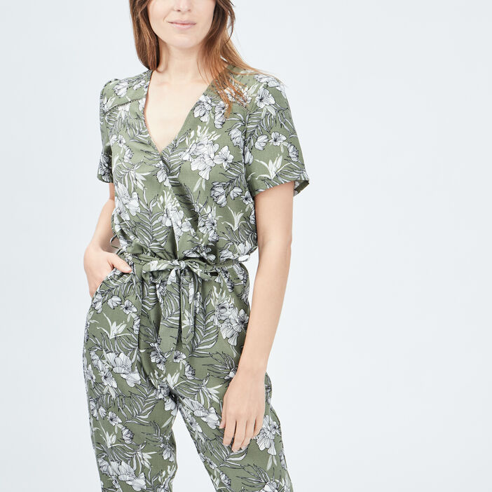 Combinaison pantalon fluide femme vert kaki
