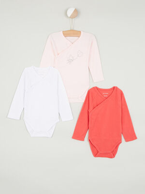 Lot de 3 body en coton rose clair bebe