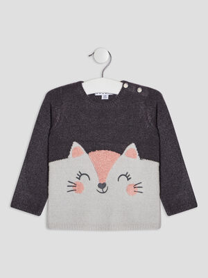 Pull avec col rond gris fonce bebef