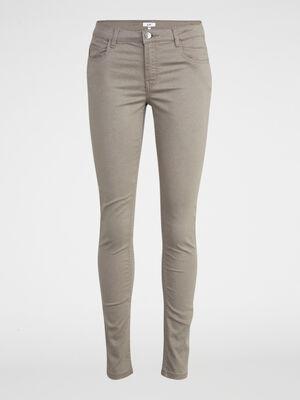 Pantalon skinny uni vert kaki femme