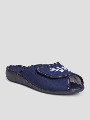 Chaussons mules brodes bleu marine femme