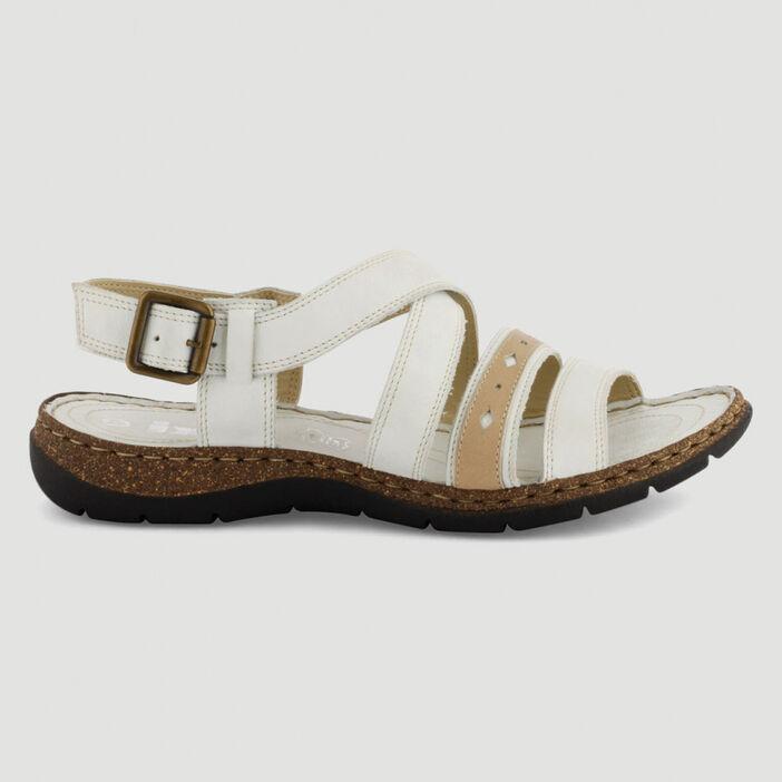 Sandales cuir bicolores semelle liège femme beige