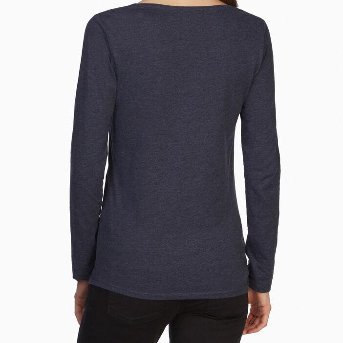 T-shirt uni à manches longues femme bleu marine
