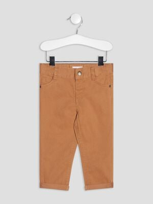 Pantalon droit taille ajustable marron bebeg