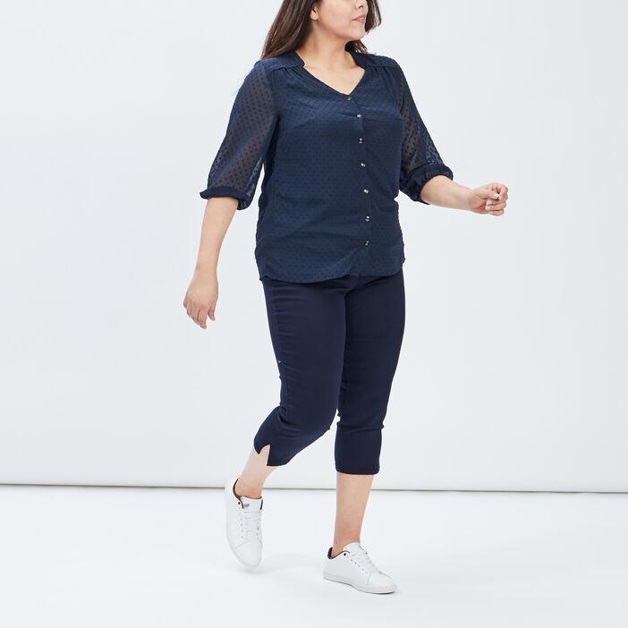 Chemise manches 3/4 femme grande taille bleu marine
