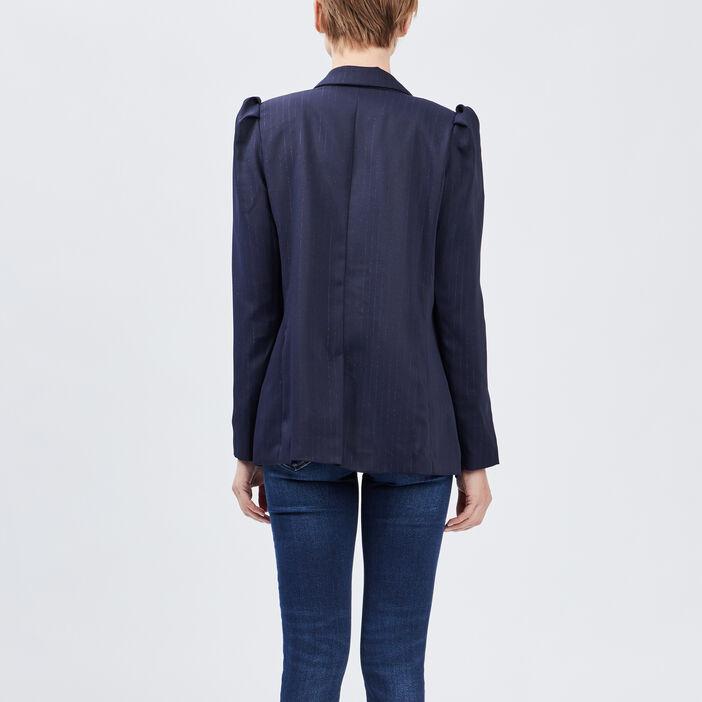 Veste droite avec fronces femme bleu marine