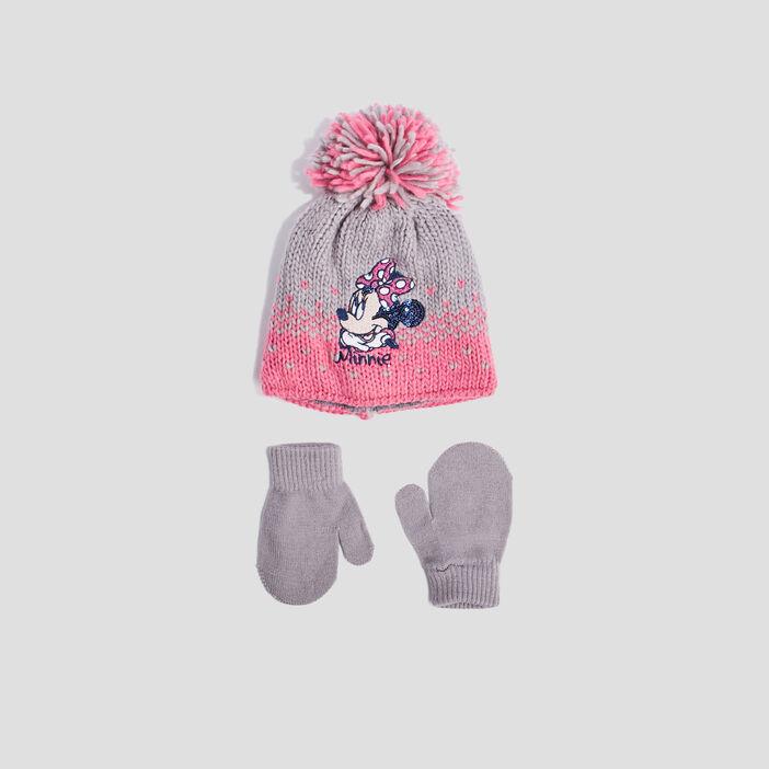 Lot bonnet et mouffles Minnie  multicolore