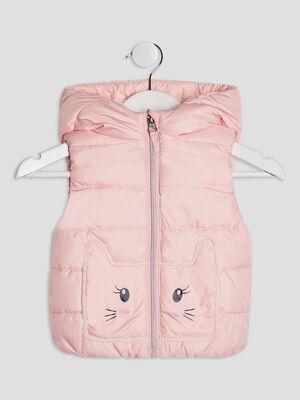 Doudoune droite a capuche rose clair bebef