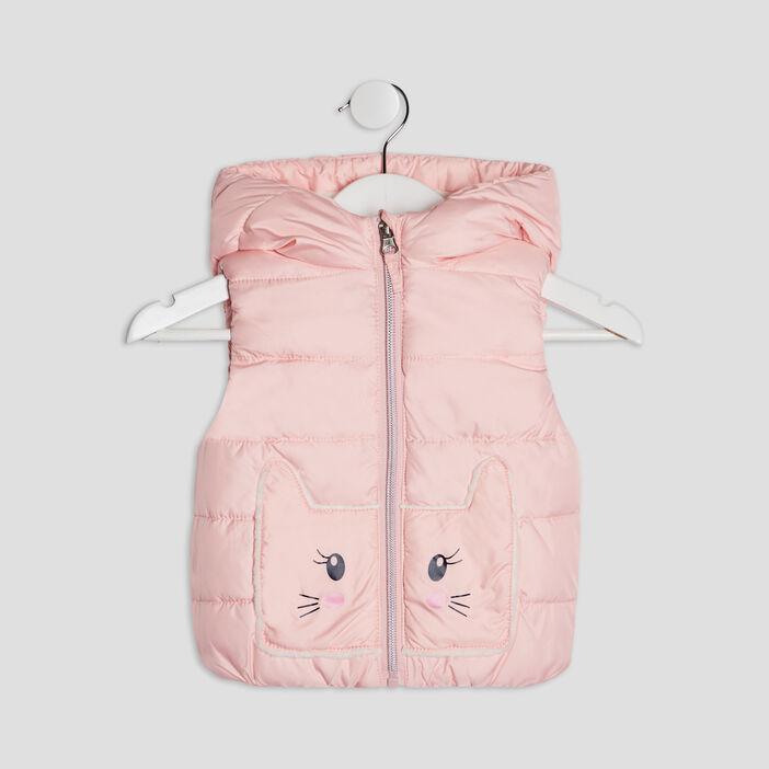 Doudoune droite à capuche bébé fille rose clair