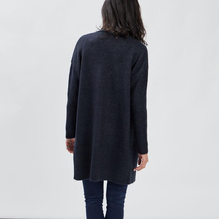 Gilet manches longues femme bleu marine