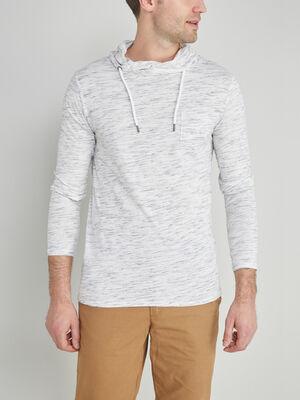 T shirt manches longues poche plaquee ecru homme