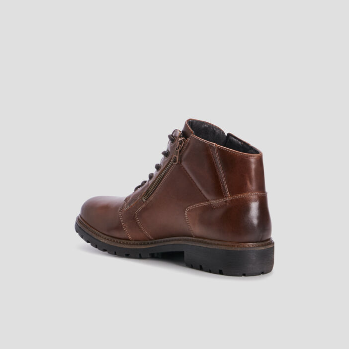 Bottines zippées en cuir homme marron