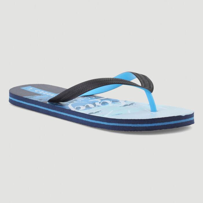 Tongs avec imprimé océan semelles homme bleu
