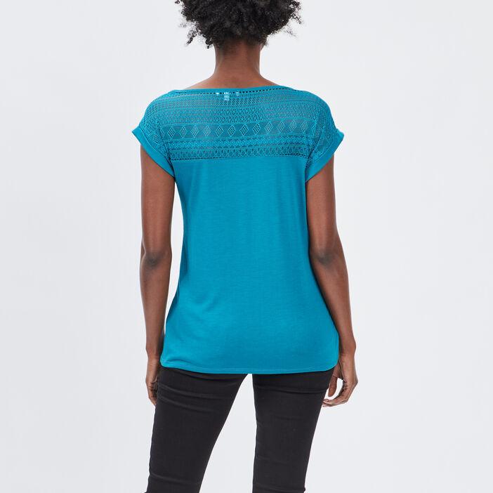 T-shirt manches courtes femme bleu canard