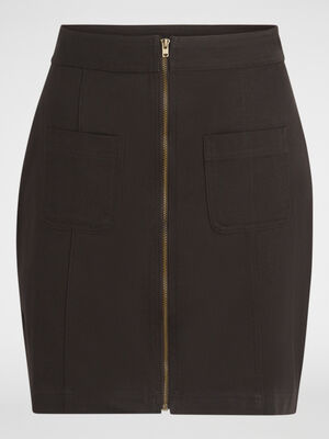 Jupe droite courte en coton marron fonce femme
