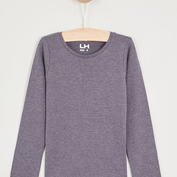 T-shirt manches longues fille gris foncé